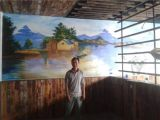南京主题餐厅墙体彩绘柠檬鱼餐厅墙绘 美丽渔村作画中ml853