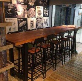 复古酒吧桌椅 高脚吧台吧椅组合铁艺实木长条桌
