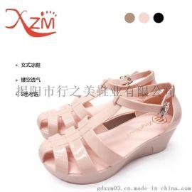 行之美人字淺口果凍水晶透氣內增高鏤空夏季舒適女式涼拖鞋