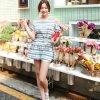 日韓女裝夏季新款 清新甜美露肩繫腰帶條紋圓擺連衣裙短裙