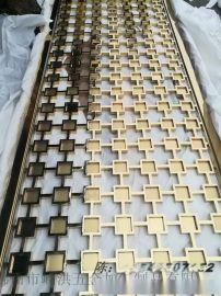 佛山嵘洪RH-2017-FG1方格全焊镜面钛金不锈钢屏风