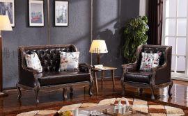 美式复古做旧沙发 工业风餐厅实木卡座 单人双人三人沙发 可定制
