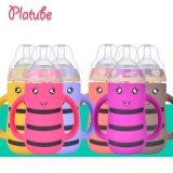 宽口径玻璃奶瓶宝宝防胀气婴儿用品防摔带吸管儿童喝水瓶