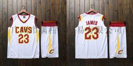 NBA球衣骑士队詹姆斯23号短袖套装大人儿童球衣
