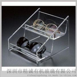 透明高档亚克力眼镜展示架 两层梯形太空镜展示盒