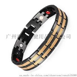 不锈钢磁石锗功能手链 黑间金时尚磁疗手链