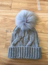 针织貉子毛毛球帽子