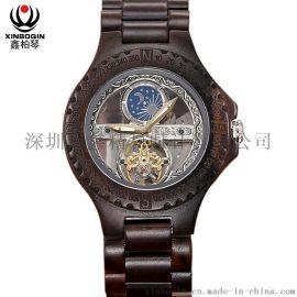 鑫柏琴3067深圳鑫柏琴男士木質全自動機械手表定制安全可靠