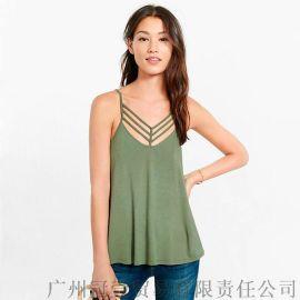 夏季新款無袖吊帶衫 簡約純色歐美風V領吊帶背心t恤【外貿女裝大量現貨批發】