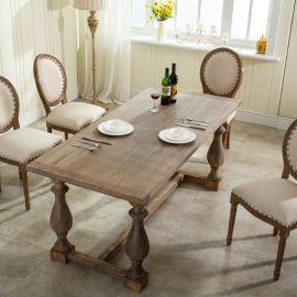 美式鄉村復古做舊定制實木餐桌子歐式北歐橡木西餐洽談桌椅8人座