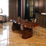 自然边实木办公桌不规则边简约创意实木茶桌