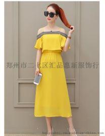 一字肩連衣裙新款夏季超仙氣質收腰荷葉邊雪紡長裙