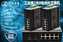 工业级千兆单纤单模20公里2光8电环网交换机