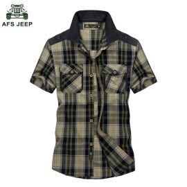 台湾服装批发 男士纯棉格子衬衫 短袖衬衫T恤 商务男士短袖衬衫 服装批发