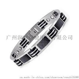 钛钢磁石磁疗功能手链 碳纤维纯钛手链