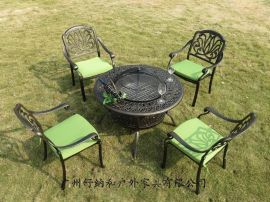 户外防晒防锈休闲铸铝烧烤桌椅