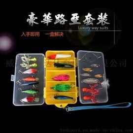 鱼饵套盒 波扒 雷蛙 超级亮片 24件套 13格双层路亚套盒批发