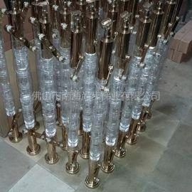 水晶立柱,上下座不锈钢度钛金