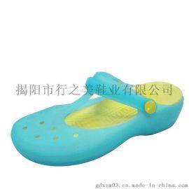 行之美鏤空果凍透氣輕便夏季搭扣女式平底洞洞涼拖鞋