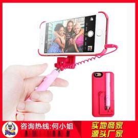 哪里有带自拍杆手机壳一体式厂家?深圳火狼电子手机壳自拍杆