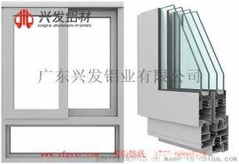 興發鋁材廠家直銷斷橋鋁系列隔熱節能中空百頁推拉窗