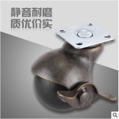 厂家供应2寸办公家具地球型青古铜平板万向脚轮带刹车轱辘CC-2204