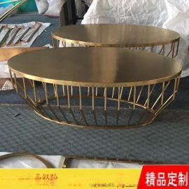 不鏽鋼鍍黃銅茶幾 現代款式鍍銅茶幾