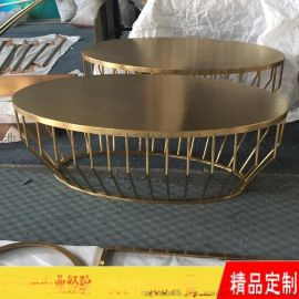 不锈钢镀黄铜茶几 现代款式镀铜茶几