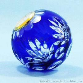 套色刻花玻璃球 钟表球室内装饰 烛台 简约时尚 高贵典雅纯手工