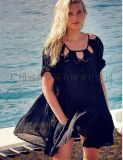 欧美风夏季新款 蕾丝钩花拼接 宽松棉麻上衣海边度假风防晒沙滩服