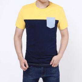 拼接素色短袖男式T恤2018春夏新品纯棉T恤男