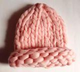 女式秋冬季流行手工粗针特粗冰岛毛棒针帽