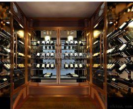 廠家定制酒莊不鏽鋼恆溫酒櫃 別墅不鏽鋼玻璃酒櫃