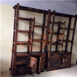 船木家具博古架,船木两门两抽博古架现货
