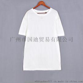 夏季白色男士圆领短袖T恤上衣服欧美纯棉半袖打底衫L码XL码特价