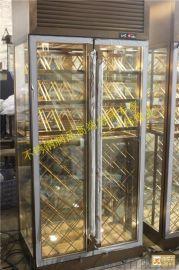 澳門拉絲玫瑰金不鏽鋼恆溫紅酒櫃|不鏽鋼酒櫃酒架工程如期完工