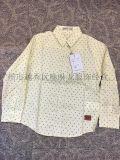 男女童装时尚印花长袖卷袖低弹力衬衫