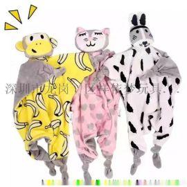 卡通多功能猫,狗,猴牛安抚巾