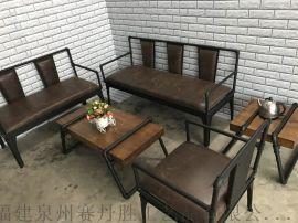 复古工业风铁艺沙发椅酒吧卡座靠背长椅咖啡厅休闲沙发