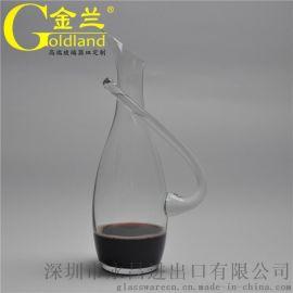 定制无铅水晶玻璃斜口红酒醒酒器1000ml