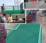 体育场围栏蓝球场足球场操场安全防护围栏 绿色勾花菱形孔围栏网