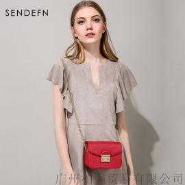 十字纹真皮女包红色夏季单肩斜挎小方包厂家直销