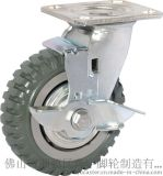 奔宇脚轮厂家 6寸重型高强度烽火聚氨酯轮 平底边刹轮