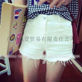 夏季新款 韩版时尚纯色百搭  修身显瘦流苏边高腰牛仔短裤 热裤