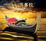 海口贡多拉游船景观装饰摄影木船欧式手划船
