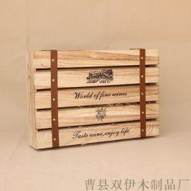 厂家定制  红酒盒高档木盒6支瓶烤色桐木复古红酒箱