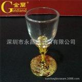 龙凤高脚金属镀金白酒杯烈酒杯玻璃杯