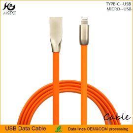 鋅合金USB2.0蘋果手機橙色棱形快速2A充電數據線