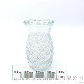 鳳梨型玻璃燭臺彩色玻璃花瓶外貿出口彩色玻璃插花瓶支持定制