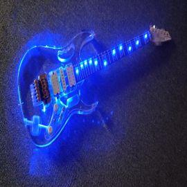 廠家大量出售丙烯酸材質藍色燈光吉他,黃金配件雙搖6弦精品